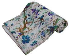 Handmade Floral Bird Print Kantha Quilt Cotton Bedspread Twin Quilt Throw Gudari