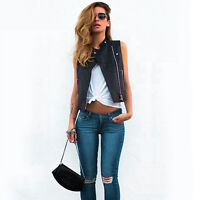 Slim PU Leather Punk Vests Jacket Biker Motorcycle Zipper Coat Sexy Women