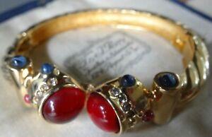 vintage multi colour rhinestone ornate gold tone bangle bracelet -N215