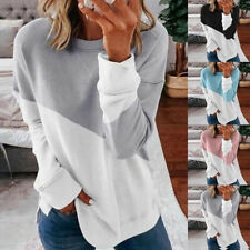 Women Stitching Color Crew Neck Blouse Long Sleeve T Shirt Casual Loose Fit Tops