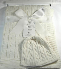 Little Luxury Baby Blanket & Hat  Cable Knit White  100% Cotton 30 X 40