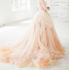 Champagne Long Train Wedding/Bridal Party Tulle Skirts/Maxi Tulle Skirt Casual