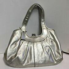 COACH 12831 Ergo Metallic Platinum Gold Leather Kisslock Shoulder Bag