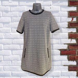 DOROTHY PERKINS - Womens UK 12 Black & White Print Short Sleeve Tunic Dress