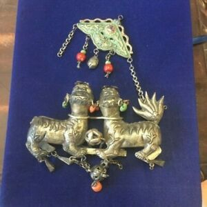 ANTIQUE CHINESE SILVER KYLIN/QILIN TURQUOISE&CARNELIAN NECKLACE REPAIR PART