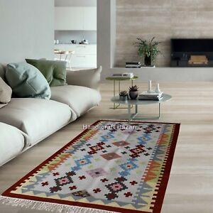 3x5' ft Rug Runner Handwoven Wool Cotton Yoga Mat Pooja Rug Hom Decor Dhurrie