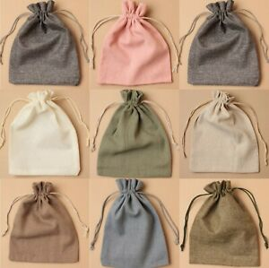 Pack of 12 Linen Cotton Jute Drawstring Gift Bags Wholesale Jewellery Bags