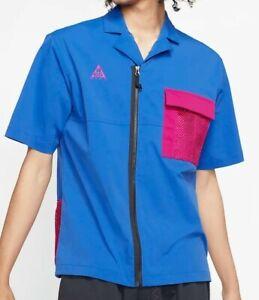 Nike ACG Short Sleeve Shirt Top Royal/Sport Fuchsia Mens Size Medium CI0414 405