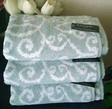 LUXURY TAHARI FLEUR DE LIS SCROLL SAGE WHITE 100% COTTON BATH TOWELS 3PC SET