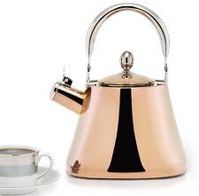 Large Whistling DuraCopper Tea Kettle, 3.1 Qt., Lock-Open Spout ~ Induction Safe