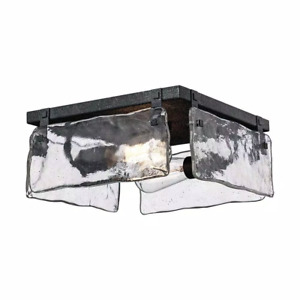 Monteaux 11.75 in. 2-Light Textured Black Flush Mount /Water Glass by Monteaux