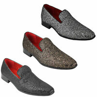 Mens Shiny Glitter Leather Loafers Black White Bronze Smart Party Slip on Shoes