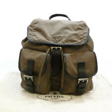Authentic PRADA VELA Tessuto Medium Backpack Light Brown Nylon #S306045