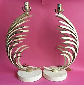 Vtg Michael Taylor? 1985 Pair Iron Palm Frond Fine Arts Co. Lamps Travertine