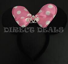 Minnie Mouse Princess Tiara Headband Black Plush Ears Baby Pink Bow Birthday New
