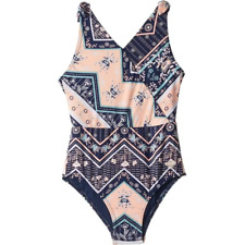 $99 Roxy Girl's Blue Orange Floral Patchwork One-Piece Swimsuit Size 10