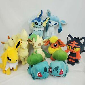 Lot of 9 Tomy Pokemon Plush Flareon Ninetales Volteon Vaporeon Bulbusaur Leafeon