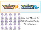 Pokemon Ultra Sun and Moon 6 IV Shiny Ditto Breeding Bundle Pack All 25 Natures