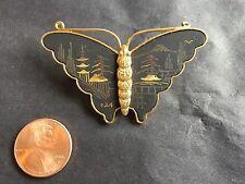 Beautiful Vintage Japanese Damascene Gold Tone Butterfly Brooch Pin