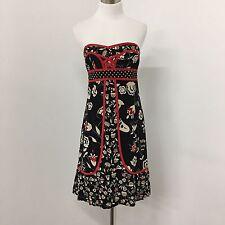 Nanette Lepore womens dress red black tan print removable straps bustier Size 2