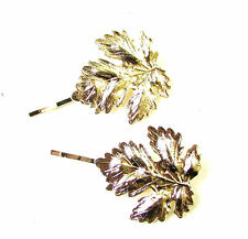 Set of 2 Large Gold Tone Leaf Hair Clips Bobby Pins Woodland Bridal Grips 1014