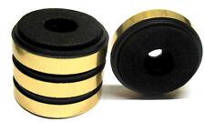 4x stabile Hifi-Gerätefüße schwarz/gold 40mm Boxenfüße Moosgummidämpfer