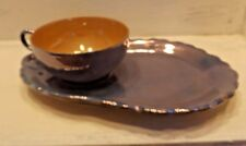 Blue & Peach Luster Ware China Tea & Snack Set Japan EUC