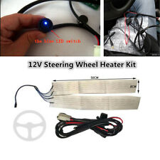 Car Truck Steering Wheel Heater Kit Winter Heated Pad+Blue LED Light Switch 12V