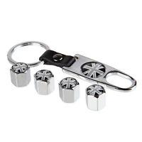 Sliver Wheel Tire Valve Stem Air Caps plugs Keychain Union Jack Gray Logo S265