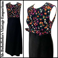 Size 12 Vintage Maxi Shift Dress 1960s Black Floral Velvet A-Line Mod Boho