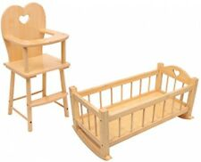 Dolls Wooden Rocking Cradle Cot Bed Feeding High Chair Toy Kids Play Gift Set
