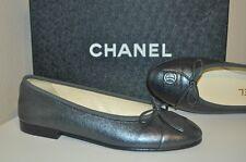 NIB $750+ CHANEL CC Logo Ballet Ballerina Flats Shoe Metallized Silver 35.5 -5.5