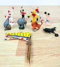 VINTAGE Circus Figurines 1950's Plastic Set of 9 Hong Kong Lion Clowns Elephant