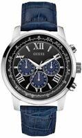 GUESS Orologio uomo W0380G3 Pelle blu Cronografo maschile elegante originale 80