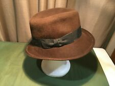 Sz Sm 6 3/4 Eric Javits New York Women's Brown Felted Fedora Hat