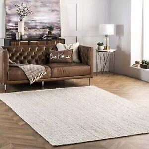 White Rug Jute 100% Natural Jute Braided Style Rug Reversible Modern Rustic Look