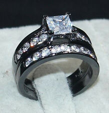 Size 9/S White Sapphire 18K Black Gold Filled Womens Wedding 2-in-1 Ring Set