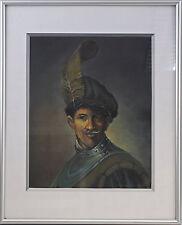 8360097 Öl-gemälde Autografato Alex Lock Copia dopo Rembrandt Vecchio Uniforme