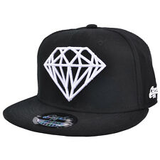 White Diamond Designe Black Flat Peak Snapback Baseball Rapper Hip Hop Cap
