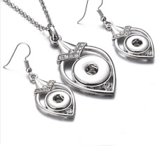 Hot Silver color Drill Earrings and  Pendant Fit For Noosa Charm Snap Button