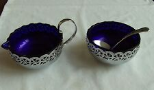 Retro  Vintage Chromium Plated Milk Jug, & Sugar Bowl with Blue Glass Liners