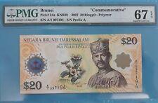 "2007 Brunei 20 dollars PMG67 EPQ SUPERB GEM UNC <P-34a> ""Commemorative"""