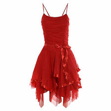 LZ169 Womens Sleeveless Strappy Cami Tie UP  Meash Frill Ruched Prom Party Dress