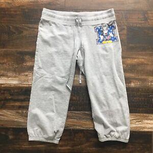 Mickey Mouse Disney Gray Capri Sweat Track Pants Lounge Yoga Juniors Large