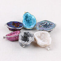 Stone Clusters Druzy Necklace Freeform Crystal Quartz Pendant Natural Gemstone