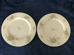 "Set of 2 Theodore Haviland New York 10 3/4"" Apple Blossom Large Dinner Plate-GC"