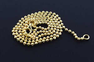 14k Yellow Gold Plated .925 Sterling Silver Moon Cut 2mm Ball Necklace Chain