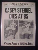 VINTAGE NEWSPAPER HEADLINE ~BASEBALL METS PLAYER MANAGER CASEY STENGEL DIES 1975