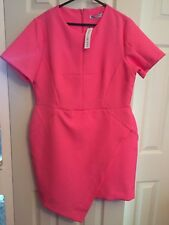 BNWT's Definitions size 16 pink asymmetric hem short sleeve knee length dress