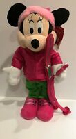 "NWT Disney Holiday Christmas Porch Greeter 24"" Minnie Mouse Pink Skis 113271"